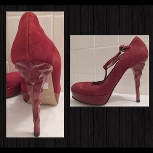 Shoes Heels T-Strap Diamond Suede Price Is Firm👠